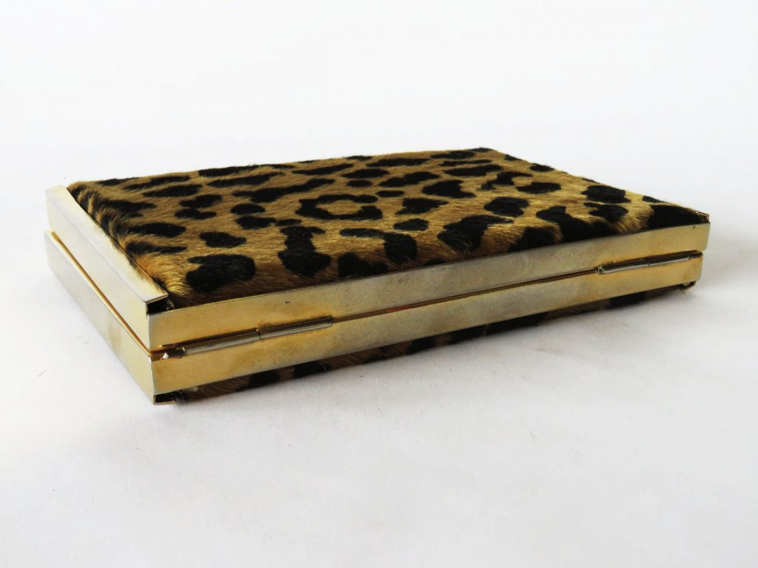 FINE LEOPARD SKIN GOLD PLATED BOW TIE CLUTCH PURSE - 7