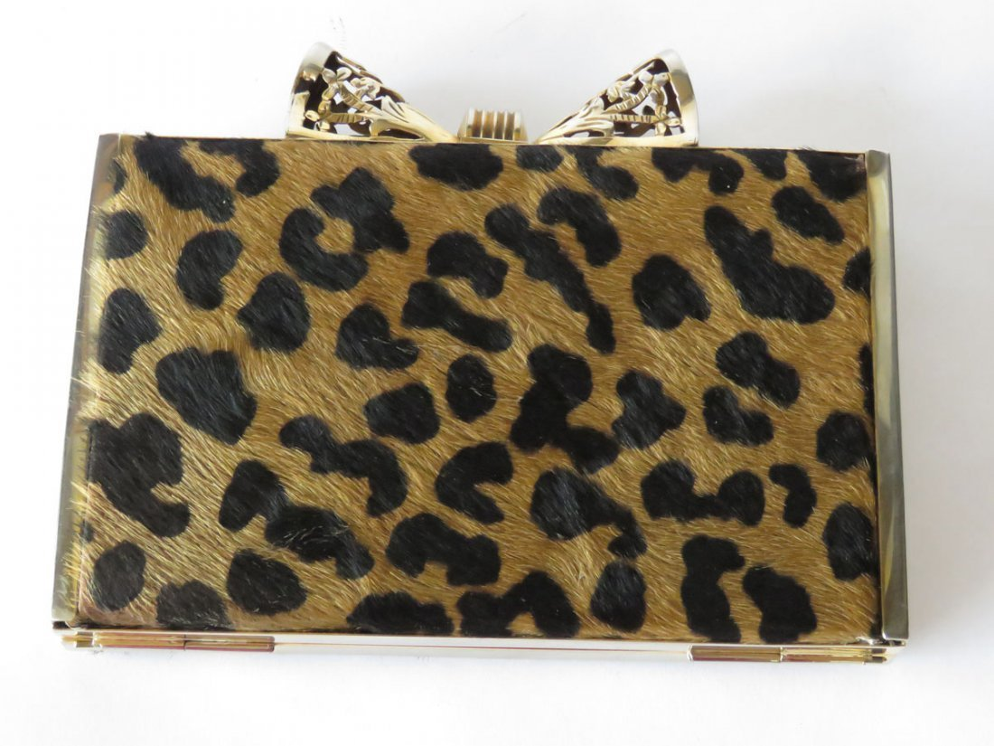 FINE LEOPARD SKIN GOLD PLATED BOW TIE CLUTCH PURSE - 8