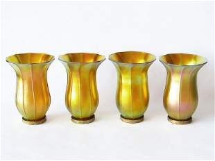 SET (4) QUEZAL ART GLASS (AURENE) SHADES 20TH C.