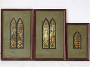 LOT (3) W/C CHURCH WINDOW DESIGNS (SHARPE BROS STUDIOS