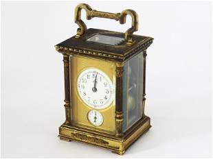 FRENCH GILT BRONZE MINIATURE CARRIAGE CLOCK W/ ALARM