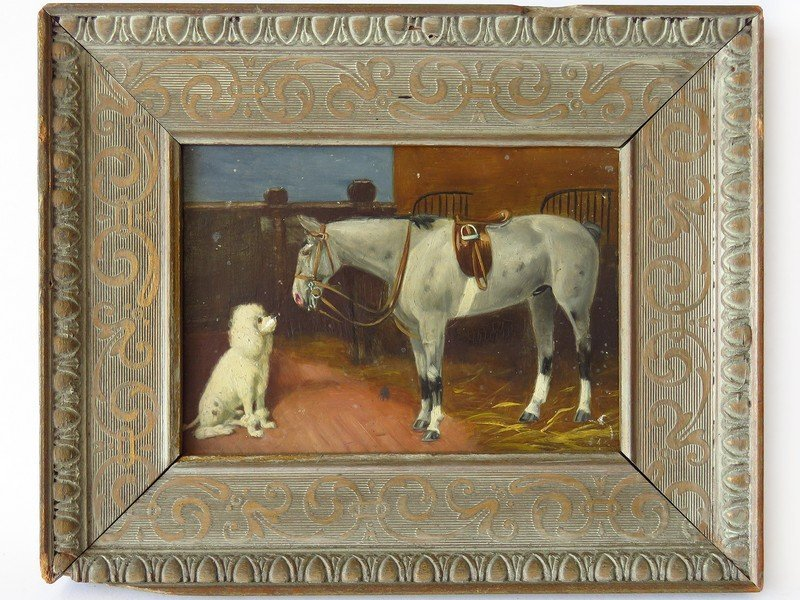 O/P HORSE W/ POODLE SIGNED ILLEDG. VERSO 19/20TH C.