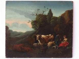 O/P LANDSCAPE W/ FIGURES SIGNED VERSO JACOBSON 18TH C.