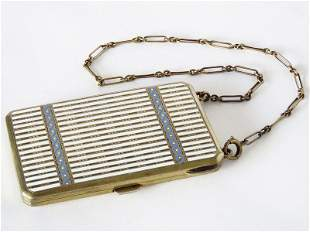 FRENCH ENAMELED GILT SILVER TRAVELING COMPACT 19/20TH
