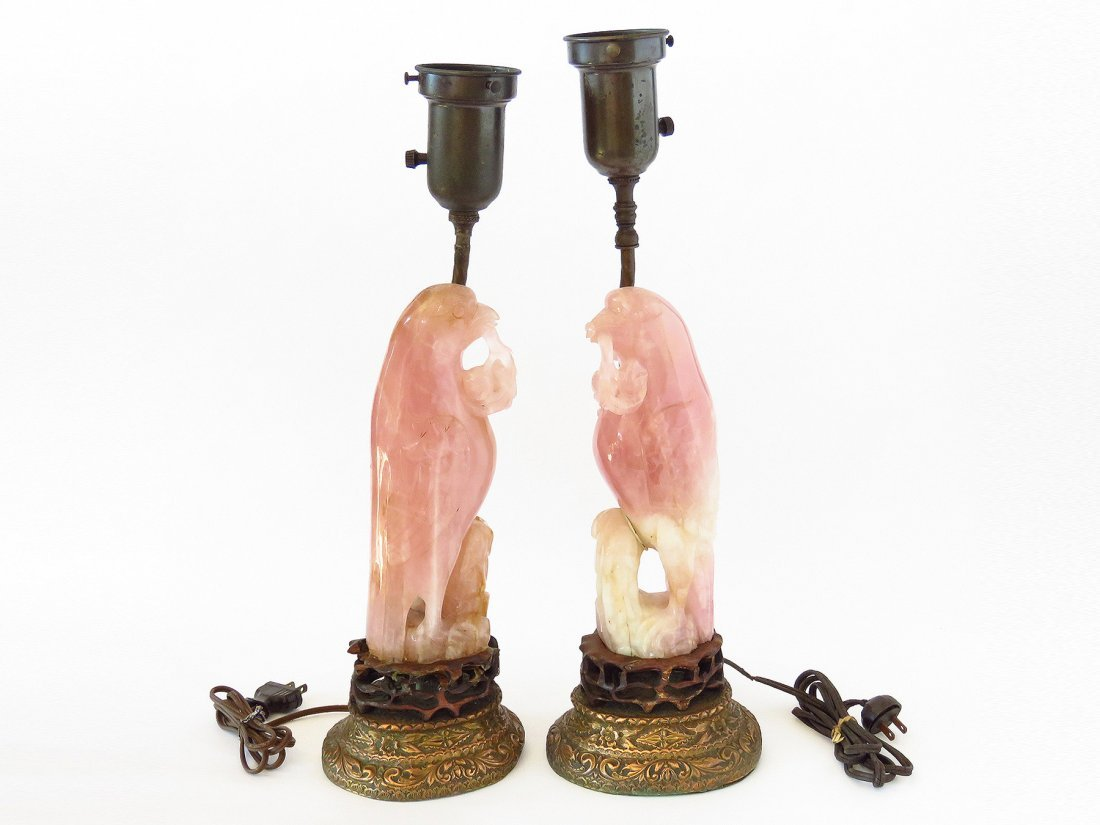 PR. CHINESE CARVED ROSE QUARTZ FALCON FIGURES (MOUNTED