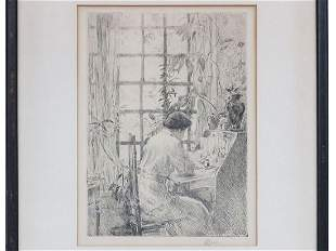 ETCHING THE WRITING DESK SIGNED CHILDE HASSAM