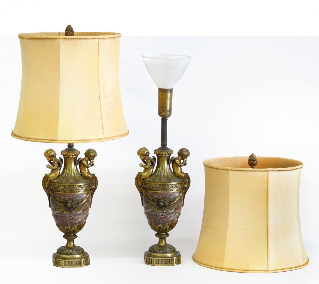 PR. FRENCH BRONZE/MARBLE GARNITURES/MOUNTED AS LAMPS