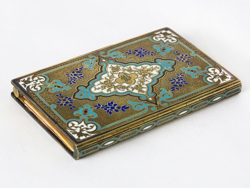 FRENCH ENAMELED GILT SILVER WRITING TABLET W/ PENCIL