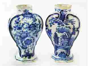 PR. FRENCH FAIENCE BLUE/WHITE VASES 18TH C.