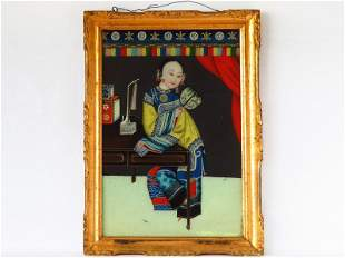 CHINESE REVERSE PAINTED LADY IN KIMONO 19TH C.