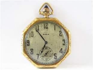 ART DECO ELGIN 14KT/SAPPHIRE CROWN POCKET WATCH C. 1920