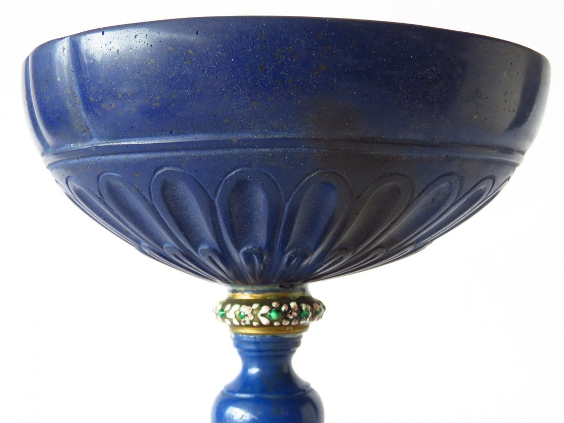FRENCH CARVED LAPIS COMPOTE/CHALIS 18TH C. - 2