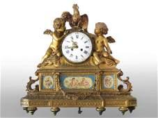 FRENCH LOUIS XVI STYLE GILT BRONZE/PORC. CLOCK, 19TH C