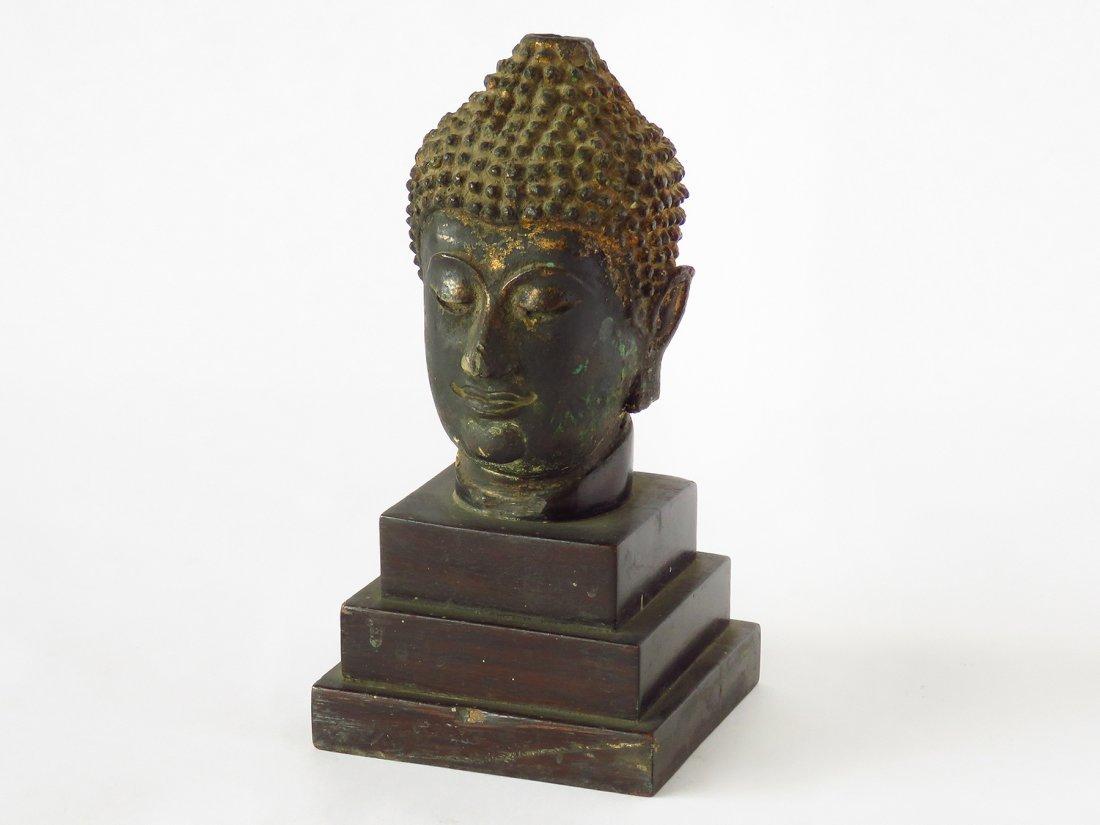 THAILAND BUDDHA BRONZE HEAD 17TH C.