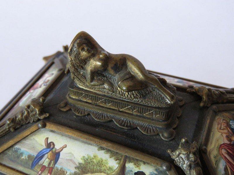 ROYAL VIENNA HAND PAINTED ENAMEL JEWELRY BOX 19THC - 5