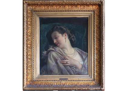 "O/C HUGUES MERLE, ""APRES LE BAL"", SIGNED/DATE 1861"