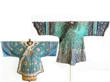 LOT (2) IMPERIAL CHINESE EMBROIDERED SILK KESI SURCOATS