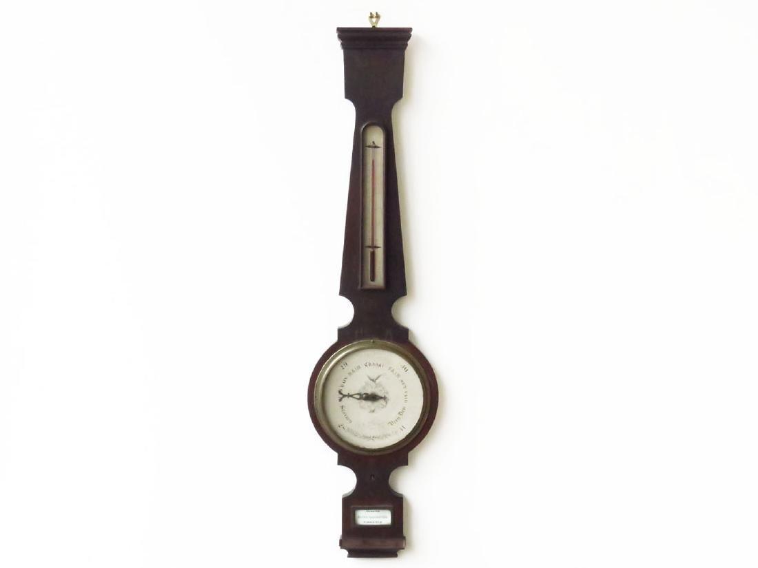 VICTORIAN WALNUT BAROMETER SIGNED L A SMITH 19TH C.