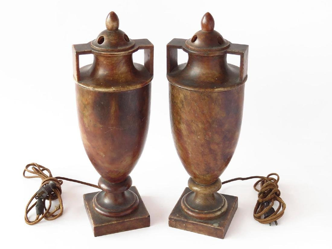 PR. FRENCH CLASSICAL ALABASTER COVERED URN TABLE LAMPS