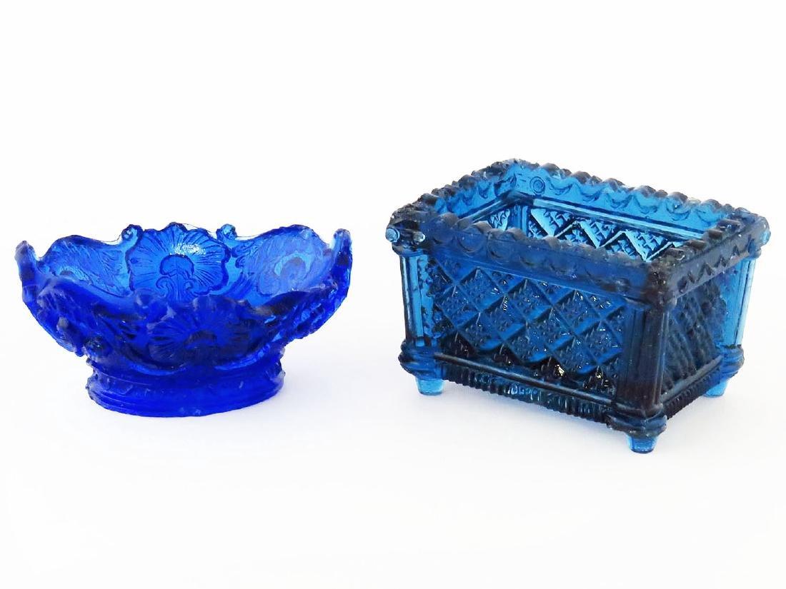 LOT (2) BOSTON/SANDWICH GLASS, BLUE OPEN SALTS 19TH C.