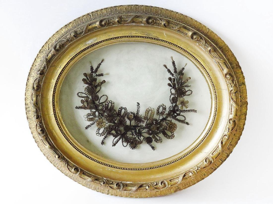VICTORIAN FOLK ART HAIR WREATH 19TH C.