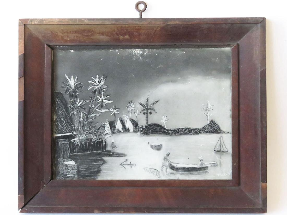 FOLK ART SANDPAPER PAINTING, PALM TREES SGN T. KNIGHT