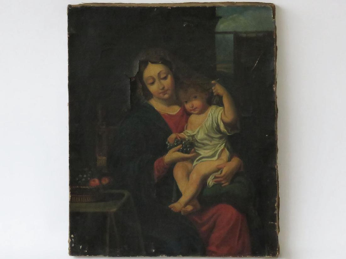 O/C MADONNA & CHILD UNSIGNED 18/19TH C.