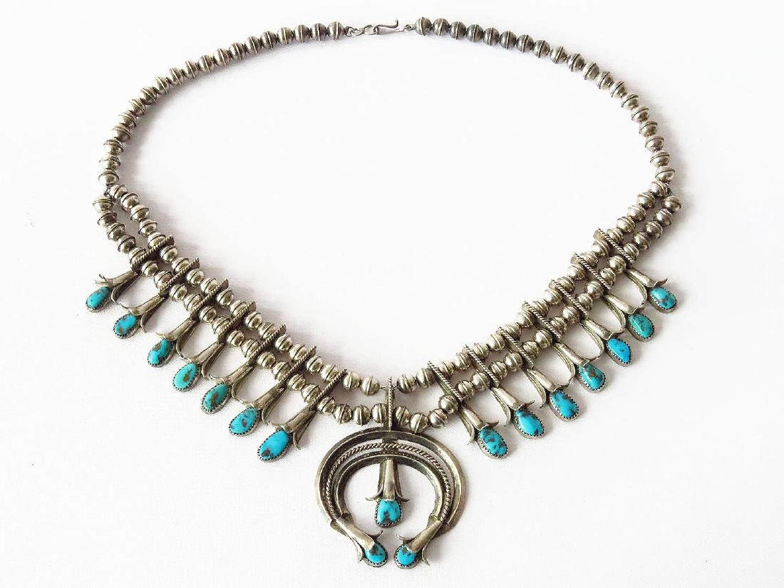 AM. INDIAN STERLING/TURQUOISE SQUASH BLOSSOM NECKLACE