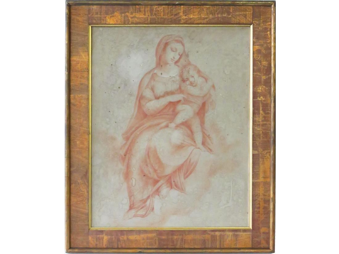SANQUINE/BUFF PAPER HOLY MOTHER/CHILD ANTOINE WATTEAU