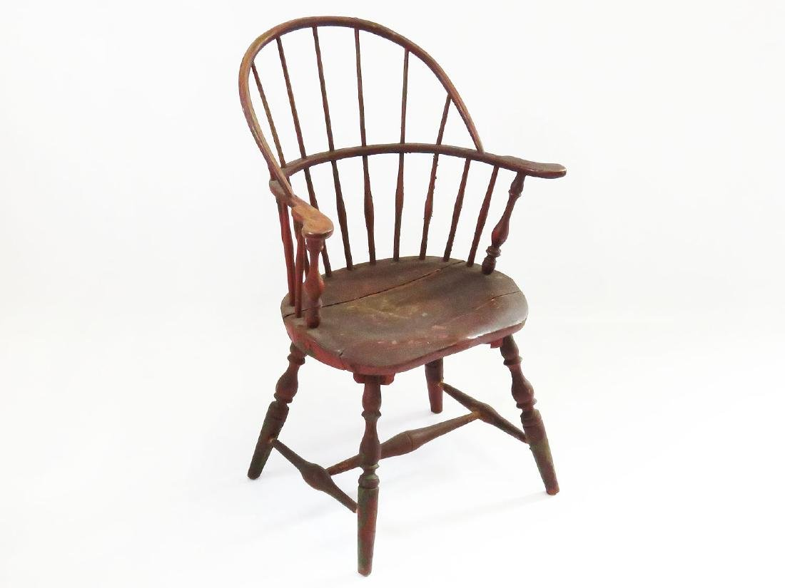 WINDSOR PAINTED SACK BACK CHAIR SIGNED E.B. TRACY 18TH