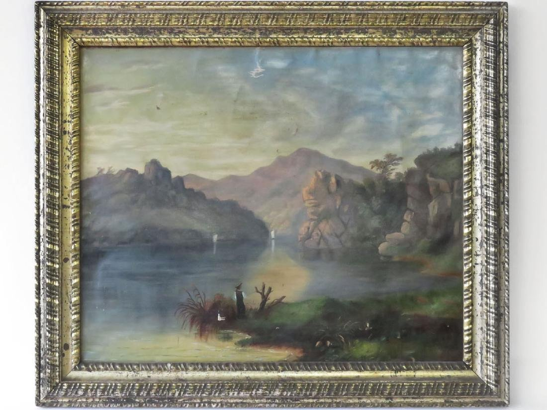 O/C HUDSON RIVER VIEW UNSIGNED 19TH C.