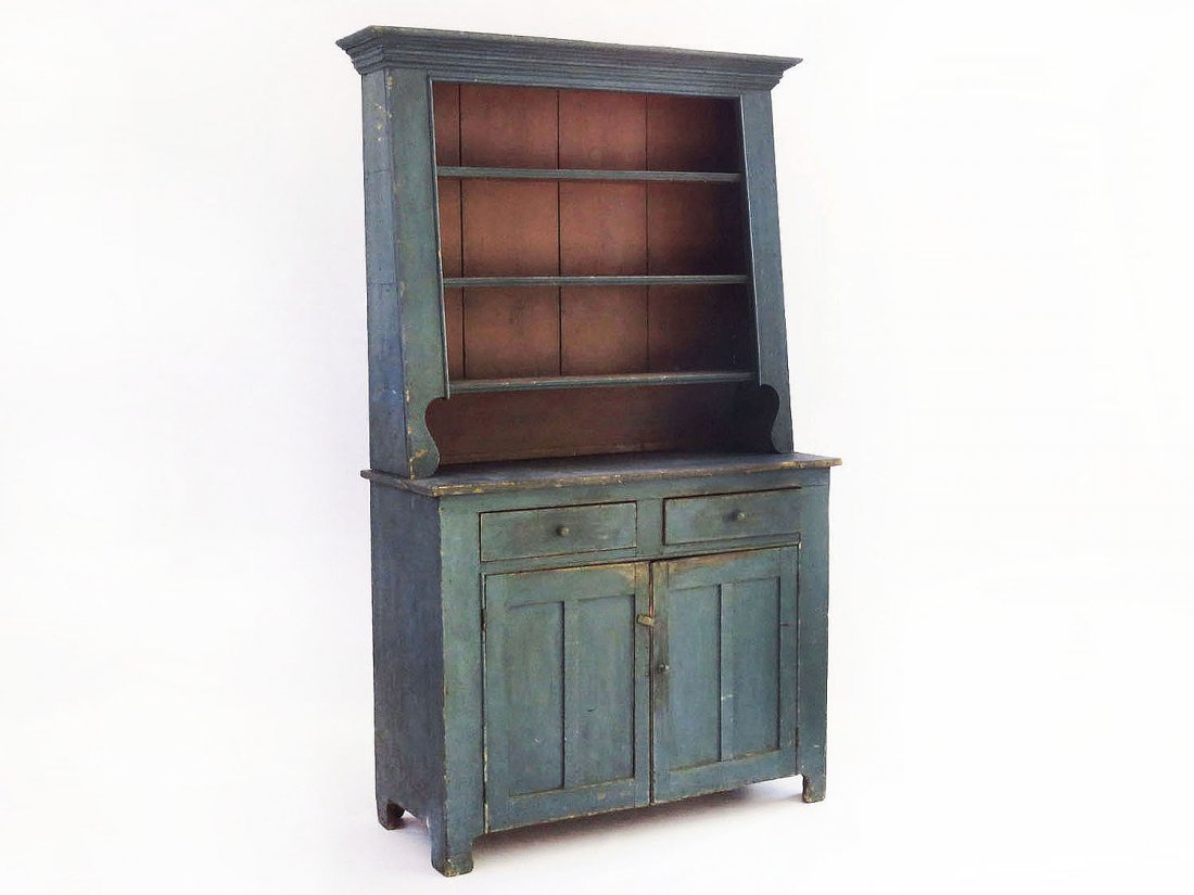 HUDSON VALLEY PAINTED PINE CANT-BACK CUPBOARD 19TH C.