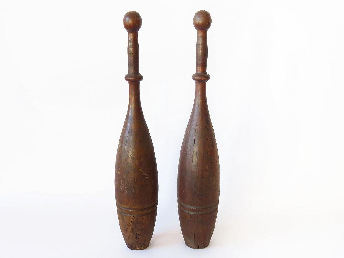 PR. CARVED INDIAN CLUBS/PINS S.D. KEHOE MAKER NY 19TH