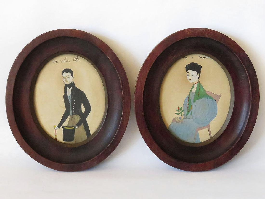 LOT (2) FOLK ART W/C PORTRAITS PUFF SLEEVE, 19TH C.