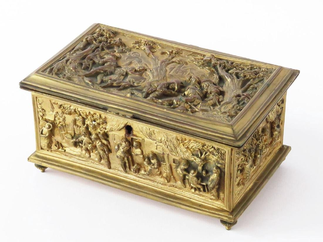 FRENCH CAST AND GILT BRONZE SEWING CASKET 19TH C.