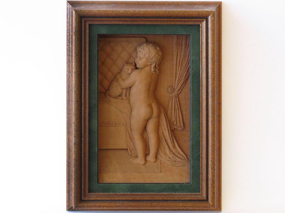 WOOD CARVING DIORAMA 'CHILD W/CAT' AFTER LEWIS CARROLL