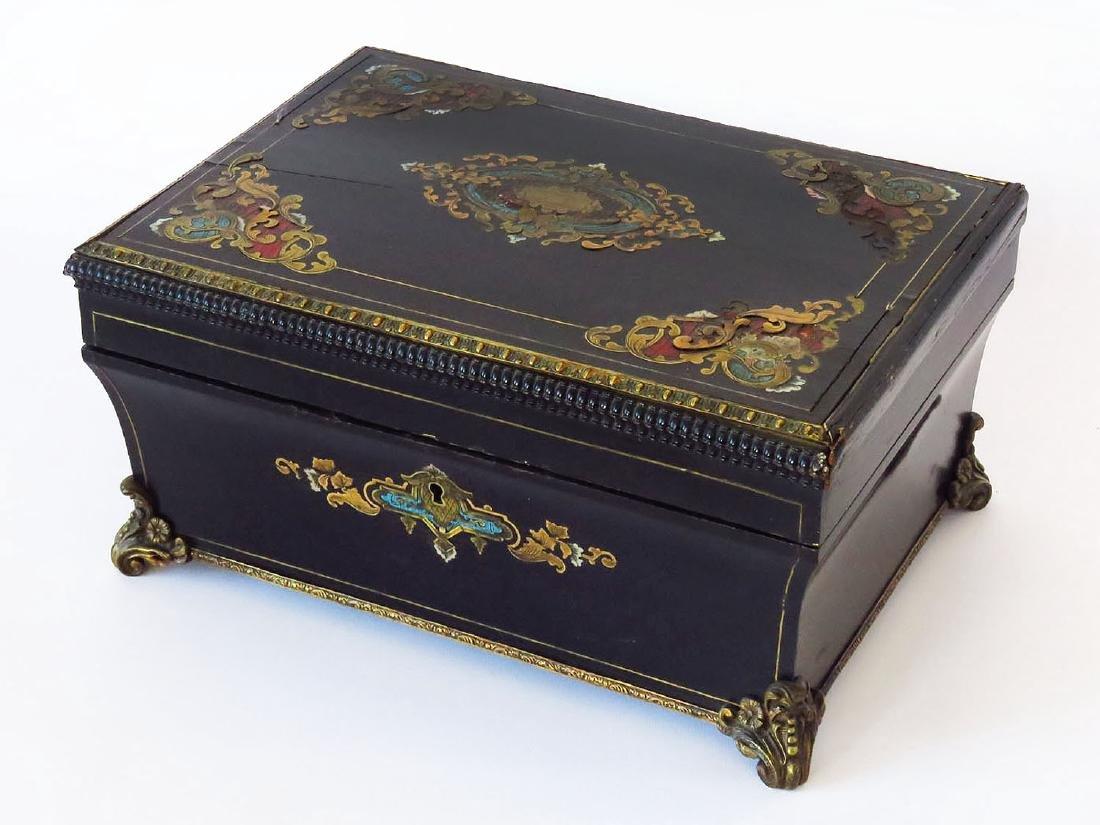 VICTORIAN EBONIZED/INLAID JEWELRY BOX 19TH C.