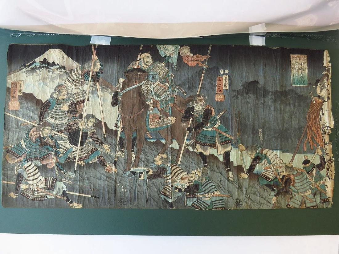 JAPANESE WOODBLOCK PRINT SIGNED    19TH C.