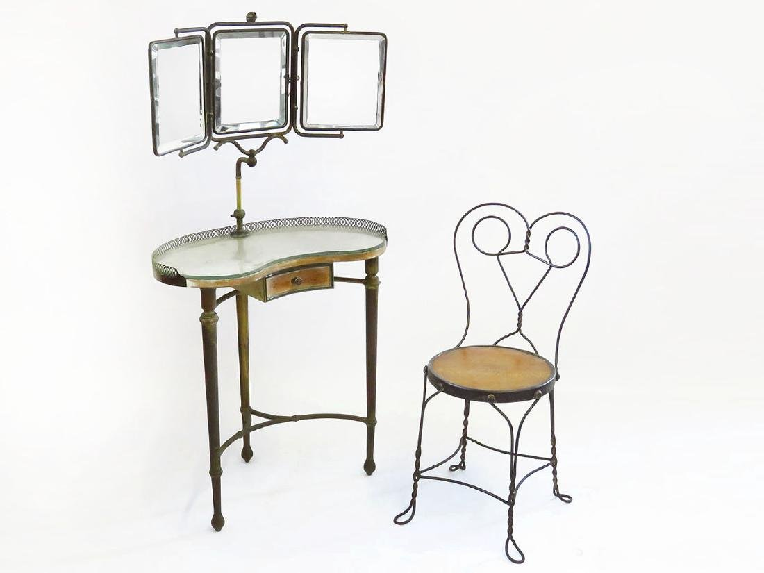 ART DECO BRASS VANITY W/MIRRORS/DRAWER, CHAIR C. 1920