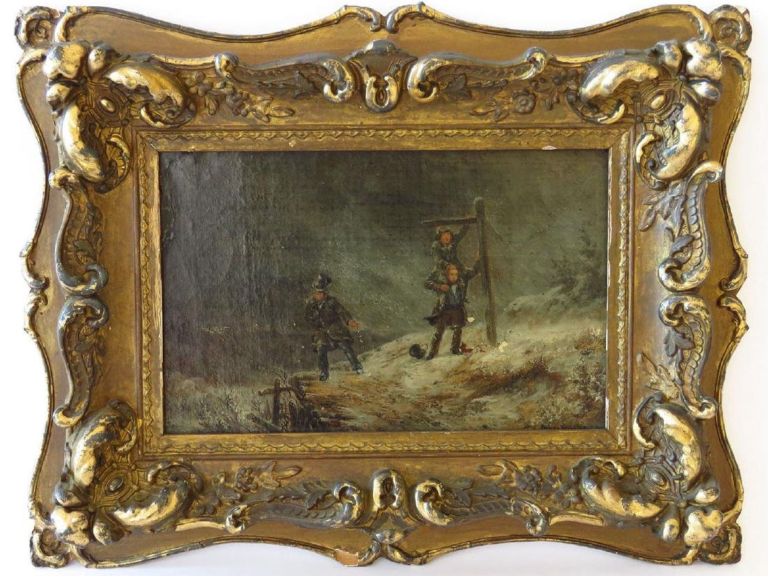 O/P WINTER SCENE SIGNED ILLEGIBLY 19TH C.