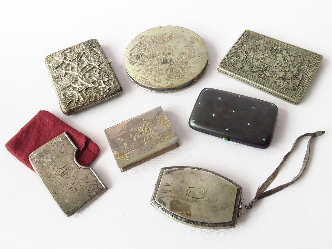 LOT (7) VICTORIAN/ART DECO STERLING COMPACT/CIG CASES