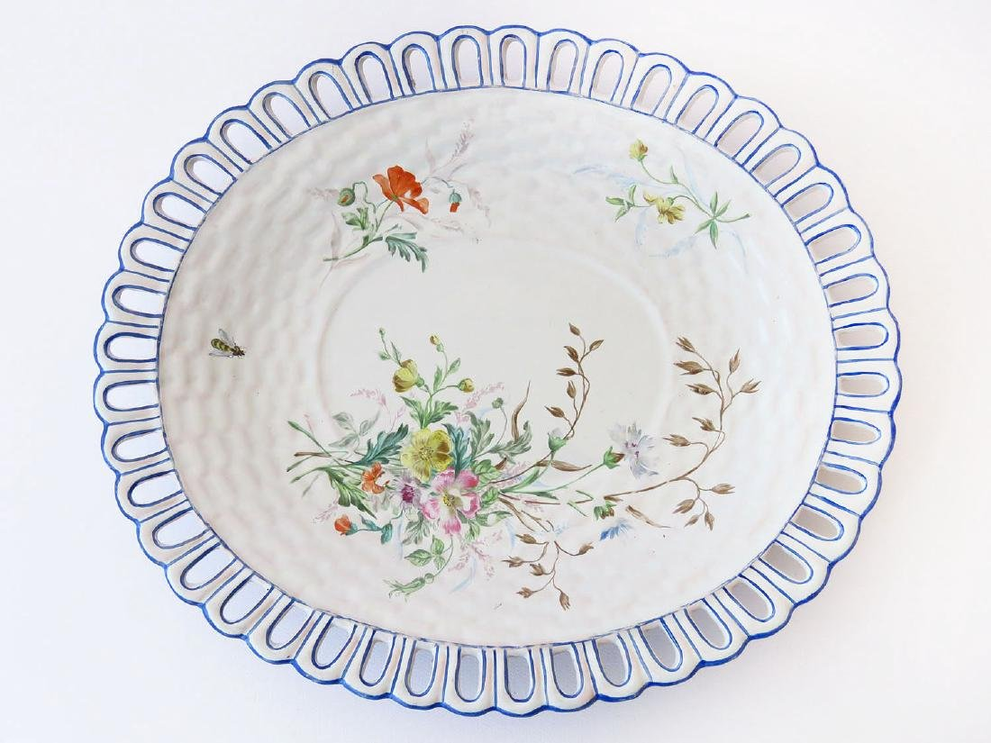 FRENCH FAIENCE FLORAL DECORATED SHOW PLATE GALLE NANCY