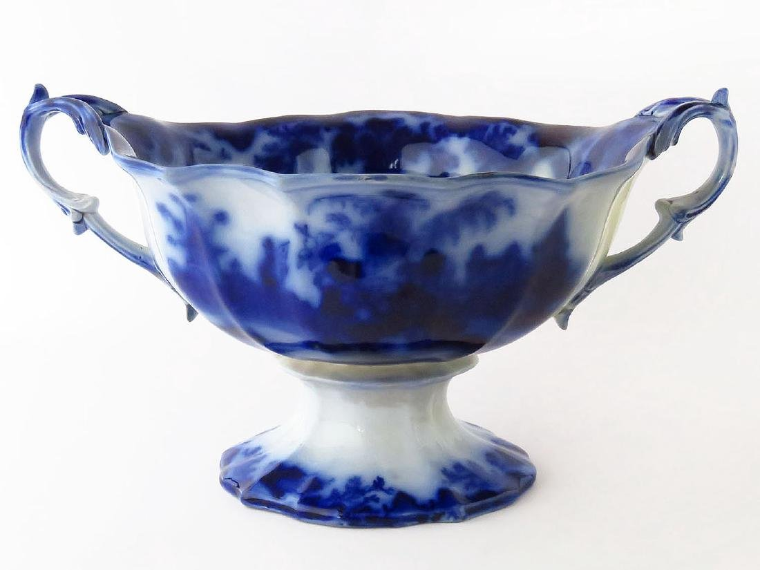 LARGE ALCOCK SCINDE PATTERN FLOW BLUE CENTER BOWL 19TH