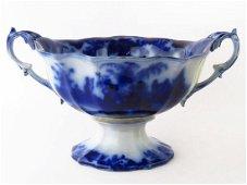 LARGE ALCOCK SCINDE PATTERN FLOW BLUE CENTER BOWL 19TH