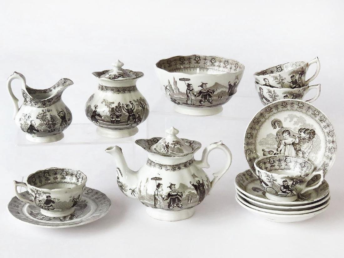 B & B IRONSTONE BROWN TRANSFER DECORATED CHILDS SET