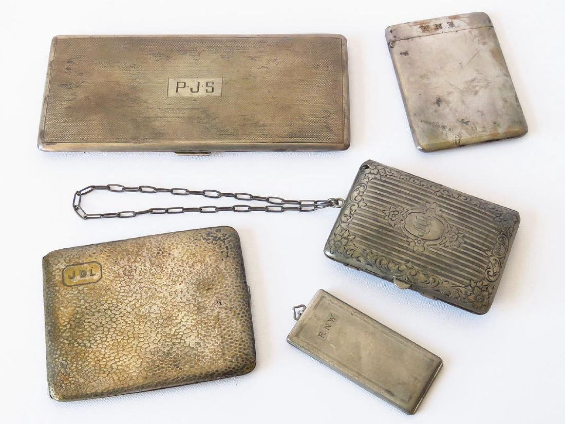 LOT (5) VICTORIAN/ART DECO STERLING COMPACT/CIG CASES