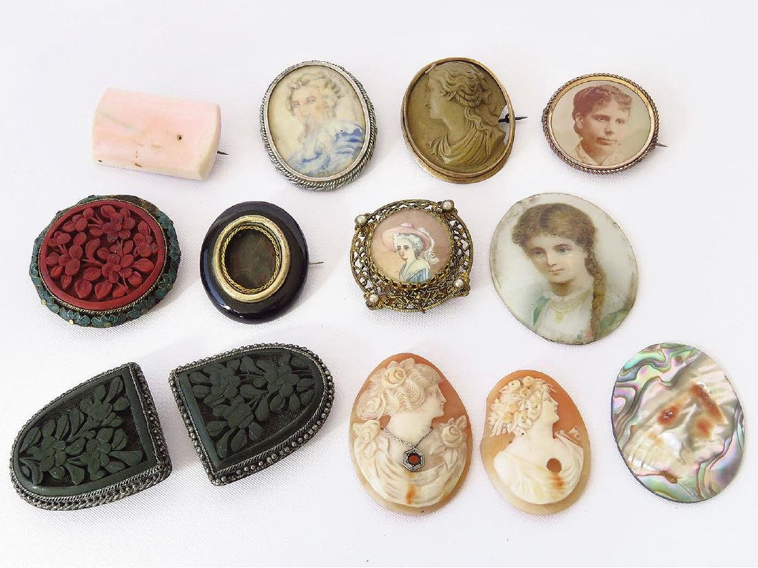 LOT ASSORTED VICTORIAN/ART DECO BROOCHES/PINS/CLIPS