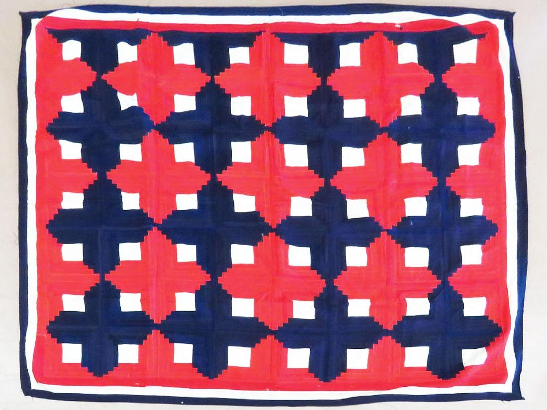 VINTAGE RED, WHITE & BLUE QUILT TOP 20TH C.