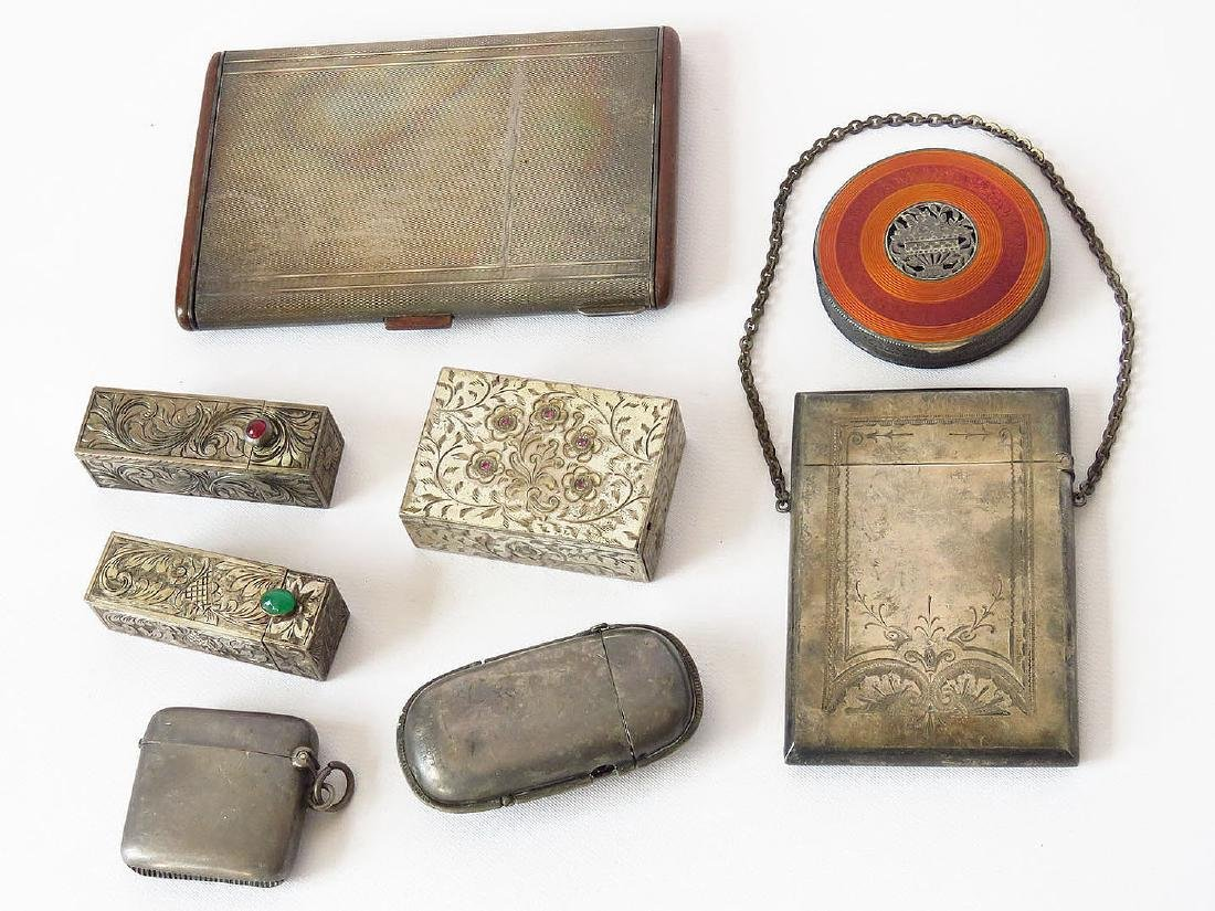 LOT (8) VICTORIAN/ART DECO STERLING COMPACTS/CIG CASES