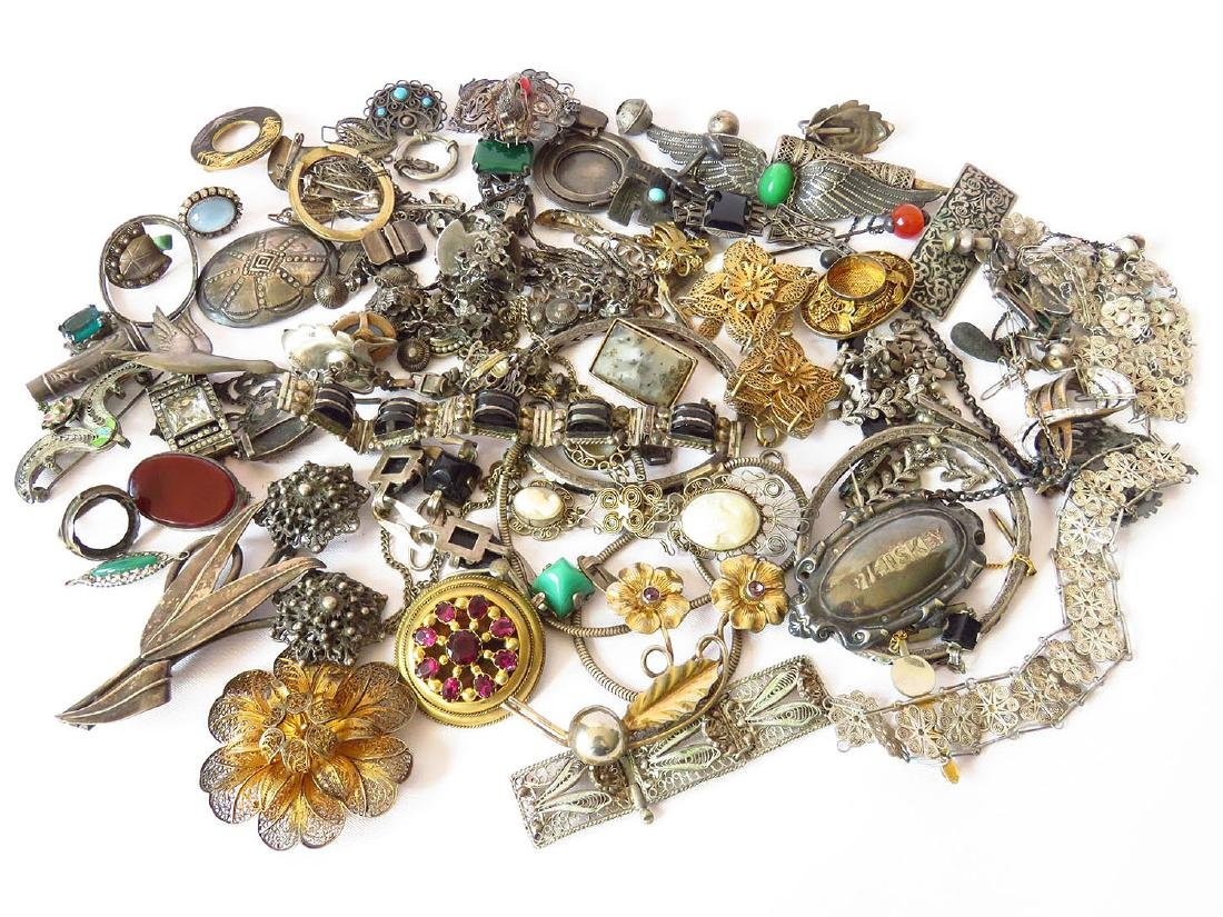 LOT VICTORIAN/ART DECO STERLING JEWELRY/FINDINGS